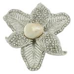 Karficë zbukurimi diamant i rremë, Pearl kulturuar ujërave të ëmbla, with Alloy zink, Lule, ngjyrë platin praruar, me diamant i rremë, asnjë, 59x59x18mm,  PC