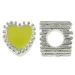 Beads European aliazh zink, Alloy zink, Zemër, Ngjyra argjend praruar, pa karrem & smalt, i verdhë, , nikel çojë \x26amp; kadmium falas, 10x11x9mm, : 5mm, 10PC/Qese,  Qese