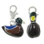 Alloy zink karavidhe kapje Charm, Rosë, Ngjyra argjend praruar, smalt, e zezë, , nikel çojë \x26amp; kadmium falas, 18x26.50x8.50mm, : 3.5x5mm, 10PC/Qese,  Qese