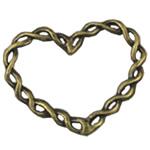 Alloy zink Lidhja Ring, Zemër, Ngjyra antike bronz i praruar, asnjë, asnjë, , nikel çojë \x26amp; kadmium falas, 28x33mm, 300PC/Qese,  Qese