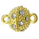 Alloy zink kapje magnetik, Round, ngjyrë ari praruar, me diamant i rremë & vetme-fillesë, asnjë, , nikel çojë \x26amp; kadmium falas, 14x10mm, : 2mm, 100PC/Shumë,  Shumë