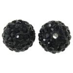 Diamant i rremë balta Beads hapë, Argjilë, Round, asnjë, me diamant i rremë, e zezë, 12mm, : 2mm, 50PC/Qese,  Qese