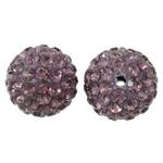 Diamant i rremë balta Beads hapë, Argjilë, Round, asnjë, me diamant i rremë, purpurtë drita, 12mm, : 2mm, 50PC/Qese,  Qese