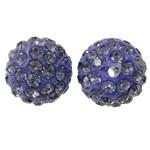 Diamant i rremë balta Beads hapë, Argjilë, Round, asnjë, me diamant i rremë, Tanzanite, 12mm, : 2mm, 50PC/Qese,  Qese