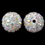 Diamant i rremë balta Beads hapë, Argjilë, Round, Ngjyra AB kromuar, me diamant i rremë, e bardhë, 12mm, : 2mm, 50PC/Qese,  Qese