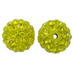 Diamant i rremë balta Beads hapë, Argjilë, Round, asnjë, me diamant i rremë, Ngjyrë limoni, 12mm, : 2mm, 50PC/Qese,  Qese