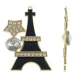 Ndërtimi Pendants Zink Alloy, Alloy zink, Kullë, ngjyrë ari praruar, smalt & me diamant i rremë, asnjë, , nikel çojë \x26amp; kadmium falas, 52x80x11mm, : 3mm, 10PC/Qese,  Qese