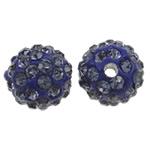 Diamant i rremë balta Beads hapë, Argjilë, Round, asnjë, me diamant i rremë, Tanzanite, 10mm, : 1.5mm, 50PC/Qese,  Qese