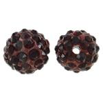 Diamant i rremë balta Beads hapë, Argjilë, Round, asnjë, me diamant i rremë, kuqe të thellë, 10mm, : 1.5mm, 50PC/Qese,  Qese