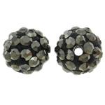 Diamant i rremë balta Beads hapë, Argjilë, Round, asnjë, me diamant i rremë, Jet kuqe e mbylltë, 10mm, : 1.5mm, 50PC/Qese,  Qese