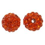 Diamant i rremë balta Beads hapë, Argjilë, Round, asnjë, me diamant i rremë, portokalli thellë kuqalashe, 10mm, : 1.5mm, 50PC/Qese,  Qese