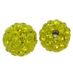 Diamant i rremë balta Beads hapë, Argjilë, Round, asnjë, me diamant i rremë, Ngjyrë limoni, 10mm, : 1.5mm, 50PC/Qese,  Qese