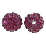 Diamant i rremë balta Beads hapë, Argjilë, Round, asnjë, me diamant i rremë, fuchsia, 10mm, : 1.5mm, 50PC/Qese,  Qese