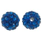 Diamant i rremë balta Beads hapë, Argjilë, Round, asnjë, me diamant i rremë, blu, 10mm, : 1.5mm, 50PC/Qese,  Qese