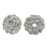 Diamant i rremë balta Beads hapë, Argjilë, Round, asnjë, me diamant i rremë, e bardhë, 8mm, : 1.5mm, 50PC/Qese,  Qese