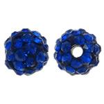 Diamant i rremë balta Beads hapë, Argjilë, Round, asnjë, me diamant i rremë, blu të errët, 8mm, : 1.5mm, 50PC/Qese,  Qese