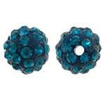 Diamant i rremë balta Beads hapë, Argjilë, Round, asnjë, me diamant i rremë, Indicolite, 8mm, : 1.5mm, 50PC/Qese,  Qese
