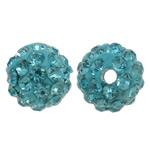 Diamant i rremë balta Beads hapë, Argjilë, Round, asnjë, me diamant i rremë, acid blu, 8mm, : 1.5mm, 50PC/Qese,  Qese