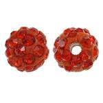 Diamant i rremë balta Beads hapë, Argjilë, Round, asnjë, me diamant i rremë, kuq pak portokalli, 8mm, : 1.5mm, 50PC/Qese,  Qese
