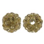 Diamant i rremë balta Beads hapë, Argjilë, Round, asnjë, me diamant i rremë, i verdhë, 8mm, : 1.5mm, 50PC/Qese,  Qese
