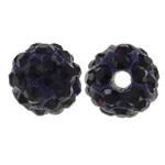 Diamant i rremë balta Beads hapë, Argjilë, Round, asnjë, me diamant i rremë, vjollcë e errët, 8mm, : 1.5mm, 50PC/Qese,  Qese