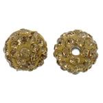 Diamant i rremë balta Beads hapë, Argjilë, Round, asnjë, me diamant i rremë, i verdhë, 10mm, : 2mm, 50PC/Qese,  Qese