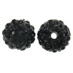 Strass Ton befestigte Perlen, rund, mit Strass, schwarz, 10mm, Bohrung:ca. 2mm, 50PCs/Tasche, verkauft von Tasche