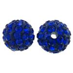 Diamant i rremë balta Beads hapë, Argjilë, Round, asnjë, me diamant i rremë, blu të errët, 10mm, : 2mm, 50PC/Qese,  Qese