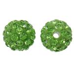 Diamant i rremë balta Beads hapë, Argjilë, Round, asnjë, me diamant i rremë, drita e gjelbër, 10mm, : 2mm, 50PC/Qese,  Qese