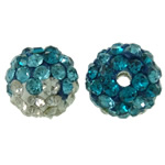 Diamant i rremë balta Beads hapë, Argjilë, Round, asnjë, me diamant i rremë, asnjë, 10mm, : 2mm, 50PC/Qese,  Qese