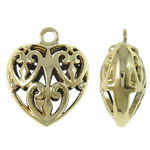 Pendants Heart Zink Alloy, Alloy zink, Zemër, ngjyrë ari praruar, i uritur, asnjë, , nikel çojë \x26amp; kadmium falas, 27x32x15mm, : 3.5mm, 20PC/Qese,  Qese