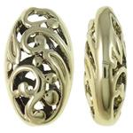 Beads aliazh zink Hollow, Alloy zink, Oval, ngjyrë ari praruar, i uritur, asnjë, , nikel çojë \x26amp; kadmium falas, 10.50x18x6.50mm, : 1mm, 50PC/Qese,  Qese