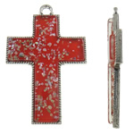 Alloy zink Pendants Kryqi, with Rrëshirë, Ngjyra antike argjendi praruar, asnjë, i kuq, , nikel çojë \x26amp; kadmium falas, 54x81.50x7.50mm, : 5mm, 10PC/Qese,  Qese