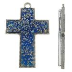 Alloy zink Pendants Kryqi, with Rrëshirë, Ngjyra antike argjendi praruar, asnjë, blu, , nikel çojë \x26amp; kadmium falas, 54x81.50x7.50mm, : 5mm, 10PC/Qese,  Qese