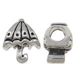 Beads European aliazh zink, Alloy zink, Ombrellë, Ngjyra antike argjendi praruar, pa karrem, asnjë, , nikel çojë \x26amp; kadmium falas, 9.50x11.50x8mm, : 4.5mm, 10PC/Qese,  Qese