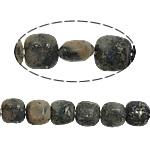 Goldene Pyrit Perlen, Quadrat, 8x8x5mm, Bohrung:ca. 1.2mm, ca. 51PCs/Strang, verkauft per ca. 15.5 ZollInch Strang