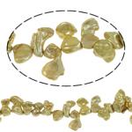 Wiedergeborene kultivierte Süßwasserperlen, Natürliche kultivierte Süßwasserperlen, Keishi, Goldfarbe, 9-10mm, Bohrung:ca. 0.8mm, verkauft per 15.7 ZollInch Strang