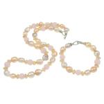 Natyrore kulturuar Pearl ujërave të ëmbla bizhuteri Sets, Pearl kulturuar ujërave të ëmbla, with Cats Eye & Kristal, Shape Tjera, natyror, asnjë, asnjë, 11-12mm, :7.5Inç, 20Inç,  I vendosur