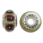 Lampwork Style European, Rondelle, punuar me dorë, core cupronickel vetme me karrem, asnjë, 15x9mm, : 4.5mm, 50PC/Qese,  Qese