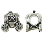 Beads European aliazh zink, Alloy zink, Makinë, Ngjyra antike argjendi praruar, pa karrem, asnjë, , nikel çojë \x26amp; kadmium falas, 11x12x9mm, : 4.5mm, 10PC/Qese,  Qese