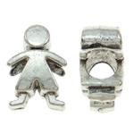 Beads European aliazh zink, Alloy zink, Karakter, Ngjyra antike argjendi praruar, pa karrem, asnjë, , nikel çojë \x26amp; kadmium falas, 9.50x14x7.50mm, : 4.5mm, 10PC/Qese,  Qese
