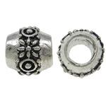 Beads European aliazh zink, Alloy zink, Daulle, Ngjyra antike argjendi praruar, pa karrem, asnjë, , nikel çojë \x26amp; kadmium falas, 10x9mm, : 5mm, 10PC/Qese,  Qese