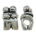 Beads European aliazh zink, Alloy zink, Karakter, Ngjyra antike argjendi praruar, pa karrem, asnjë, , nikel çojë \x26amp; kadmium falas, 10x15.50x8.50mm, : 4.5mm, 10PC/Qese,  Qese