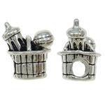 Beads European aliazh zink, Alloy zink, Shape Tjera, Ngjyra antike argjendi praruar, pa karrem, asnjë, , nikel çojë \x26amp; kadmium falas, 16x17.50x13.50mm, : 5mm, 10PC/Qese,  Qese