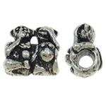 Beads European aliazh zink, Alloy zink, Majmun, Ngjyra antike argjendi praruar, pa karrem, asnjë, , nikel çojë \x26amp; kadmium falas, 15x15x10mm, : 4mm, 10PC/Qese,  Qese