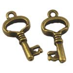 Alloy zink Pendants kyçe, Ngjyra antike bronz i praruar, asnjë, asnjë, , nikel çojë \x26amp; kadmium falas, 24.50x12mm, : 2mm, 300PC/Qese,  Qese