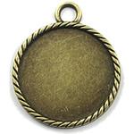 Zink Alloy varëse Setting, Alloy zink, Monedhë, Ngjyra antike bronz i praruar, asnjë, asnjë, , nikel çojë \x26amp; kadmium falas, 33.50x33.50mm, : 2mm, : 25mm, 80PC/Qese,  Qese