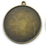 Zink Alloy varëse Setting, Alloy zink, Round Flat, Ngjyra antike bronz i praruar, asnjë, asnjë, , nikel çojë \x26amp; kadmium falas, 38x38mm, : 2mm, : 35mm, 60PC/Qese,  Qese