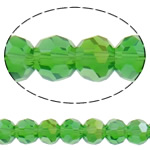 Beads Round Crystal, Kristal, Ngjyra AB kromuar, faceted & imitim kristal Swarovski, Gjelbër fier, 6mm, : 1mm, : 20.8Inç, 10Fillesat/Qese, approx100Pcs/Strand,  Qese