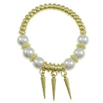 Glass Pearl Jewelry Bracelets, Round, white, with CCB component & spike charm, gold color plated, 12mm, Approx 12Strands/Bag, Length:7.5 Inch, Sold by Bag